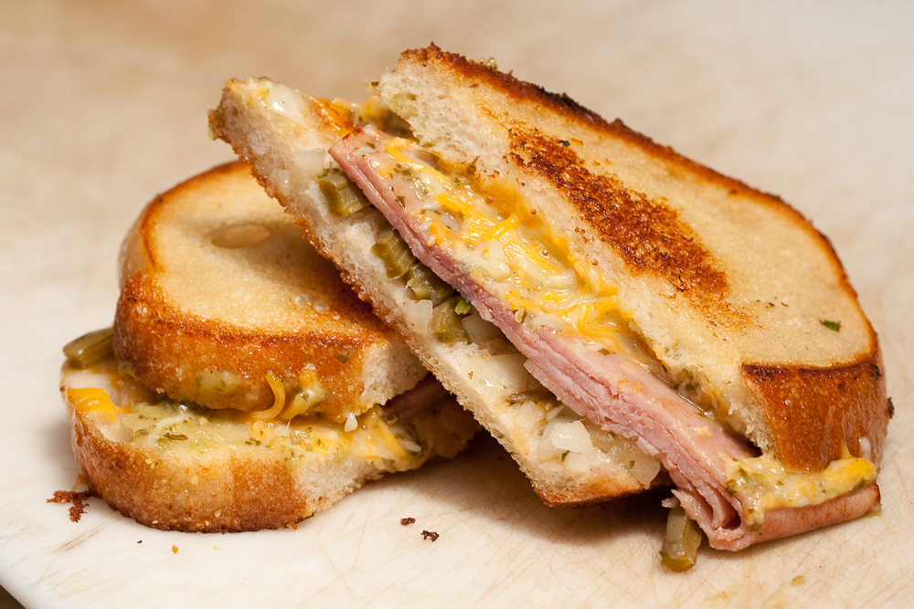 grilled Ham and Cheese sandwich with Nopalitos. The bread is grilled ...